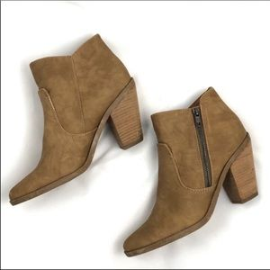 Dolce Vita booties. Tan leather, stacked wood heel